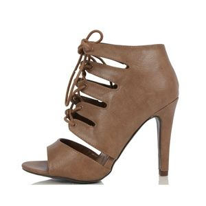 Taupe Peep Toe Caged Lace Up Single Sole Heels